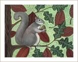 WALLY SQUIRREL in Tree FOLK ART PRINT Artist Signed CUTE