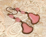 Ring My Bell 1930s Pink Art Glass Brass Dangle Earrings