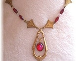 MAKE ME AN OFFER -- WHAT WOULD YOU PAY FOR THIS --- Red Art Deco Style Crystal Necklace --