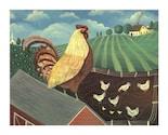 ROOSTER on ROOF Chicken Hen SIGNED FOLK ART PRINT Wendy Presseisen