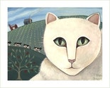 WHITE CAT on THE FARM Cows Barn SIGNED PAINTING PRINT Wendy Presseisen CAT ART