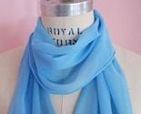 Cornflower Blue Silk Chiffon Scarf