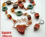 Ceramic and copper 26 inch necklace and earrings