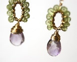 Pink Amethyst with Peridot Earrings