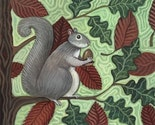 WALLY SQUIRREL in Tree FOLK ART PAINTING PRINT Artist Signed FUNKY RODENTground hedge hog GREY SQUIRREL  Cute Fun Animal