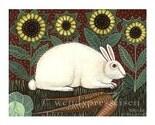 SUNFLOWER BUNNY RABBIT PRINT Signed Folk Art Poster GARDEN HARE Summer Animal WHITE RABBIT Cute