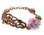 Dragonfly Garden Bracelet - Flower Blossoms Bracelet by Vintage Filigree Jewels