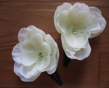 Cream and crystal flower hair clips
