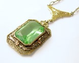 Vintage 1930s Art Deco Filigree Green Vaseline Art Glass Necklace