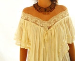 Mexican dress BOHEMIAN CHIC unique femenine details COLOR cream beige lace up to XL
