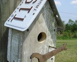 Kentucky plate birdhouse with vintage wrench perch