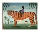 TIGER PRINT Boy on Tiger AFRICAN JUNGLE CAT Whimsical Folk Art Print SIGNED Striped KITTY POSTER Wendy Presseisen