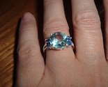 Huge Blue Topaz and Blue Sapphire SS Ring