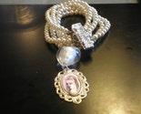Alice In Wonderland glass pearl altered art charm bracelet ooak zne by Summerpoet studios