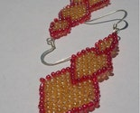 Falling Diamond Red and Yellow Beaded Earrings
