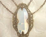 Victorian Inspired White Fire Opal Glass Jewel Filigree Necklace