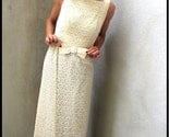 Vintage 60's cream BOW crochet high waist wedding dress xs