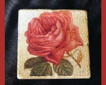 TUMBLED TILE COASTERS-Unique and Beautiful-SET OF FOUR-A ROSE IS A ROSE-UNTIL YOU SEE THIS ONE-RED AND PERFECT WITH A CRACKLE BACKGROUND