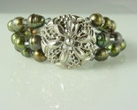 Vintage Button Bracelet With Pearls