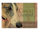 GREYHOUND DOG PRINT Whippet Poster DOG PORTRAIT Signed Grunge Graffiti Art GREAT HOUND Fun Cute