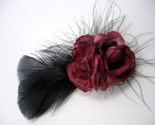 Claret Double Roses Feather Hair Clip