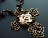 SteamPunk Cross Clockwork Jewelry Art Necklace by Vintage Filigree Jewels