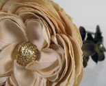 CREAMY POPPY Headband with Beige and Dark Green Silk Flowers and Vintage Rhinestone Centerpiece