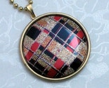 Glitter Plaid Pendant with Chain - FREE SHIPPING
