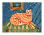 FUNKY ORANGE CAT Pampered Kitty SIGNED PRINT