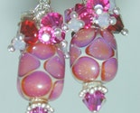 JBB Silvered FUCHSIA Barrels HANDMADE Lampwork EARRINGS