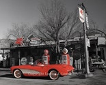 Red Corvette, Hackberry Route 66 Limited Edition, Signed, and Numbered Photograph