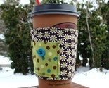 THE SQUEEZE -- Fabric Coffee Cozy Tea Sleeve -- Brown Green Flowers Dots and Button