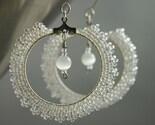 Snowfall - Beaded hoop earrings