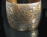 COLOR PATINA BRASS Wide Domed Cuff Bracelet Textured Floral Design
