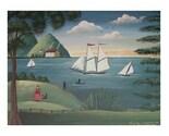 AMERICANA LANDSCAPE FOLK ART PRINT Hudson River Scene SAILBOATS People PRIMITIVE POSTER