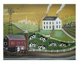 AMISH COUNTRY LANDSCAPE Horse Buggy Windmill COWS QUILTS CHURCH Wendy Presseisen Painting FOLK ART PRINT