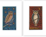 PRIMITIVE OWLS PRINT SET Night Owl and Little Owl SIGNED ART Wendy Presseisen TWO 8 X 10 FOLK ART PRINTS Owlings in Tree NAIVE NURSERY DECOR Children Storybook Illustration CUTE FUN OWLS w BIG EYES