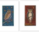 PRIMITIVE OWLS PRINT SET Night Owl and Little Owl SIGNED ART Wendy Presseisen TWO 8 X 10 FOLK ART PRINTS Owlings in Tree NAIVE NURSERY DECOR Children Storybook Illustration CUTE FUN OWLS w BIG EYES