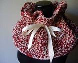 Free Shipping Americana  Cowl in Red White with Ivory Ribbon