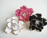 White and Gold Plated Enamel Flower Ring with Crystal Center
