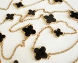 Black and Gold Four Leaf Clover Enamel Flower Necklace
