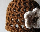 Hat - Caramel Brown Beanie Cloche Cap with White Flower Brooch Pin - Free Shipping