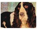 SPRINGER SPANIEL DOG Art Print MODERN GRUNGE ART POSTER Signed CUTE PUPPY Pet