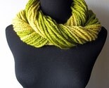 Free Shipping - Neck Taffy Lemon Lime Warm Cuddly Wrap Cowl Warmer in Strands of Citron Yellow and Lemongrass