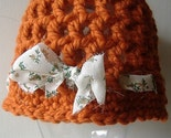Hat - Rust Orange Beanie Cloche Cap with Cotton Fabric Ribbon - Free Shipping