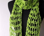 Cotton Scarf - Lime Green Spring Summer Lightweight Crochet Scarf - Free Shipping