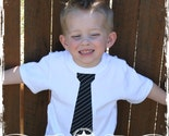 White Toddler Tee  - Black Striped Tie