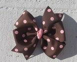 Brown with Pink Dots Large Pinwheel Hair Bow