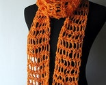Cotton Scarf - Citrus Orange Spring Summer Lightweight Crochet Scarf - Free Shipping
