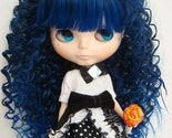 Blythe Blue Spiral Curly Long wig with bangs